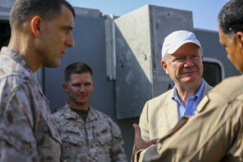 U.S. Ambassador Marc J. Sievers speaks with U.S. Marine Brig. Gen. Francis L. Donovan, Commanding General of Task Force 51, and 5th Marine Expeditionary Brigade