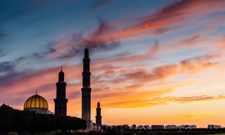 Sunset at Oman's Sultan Qaboos Grand Mosque.